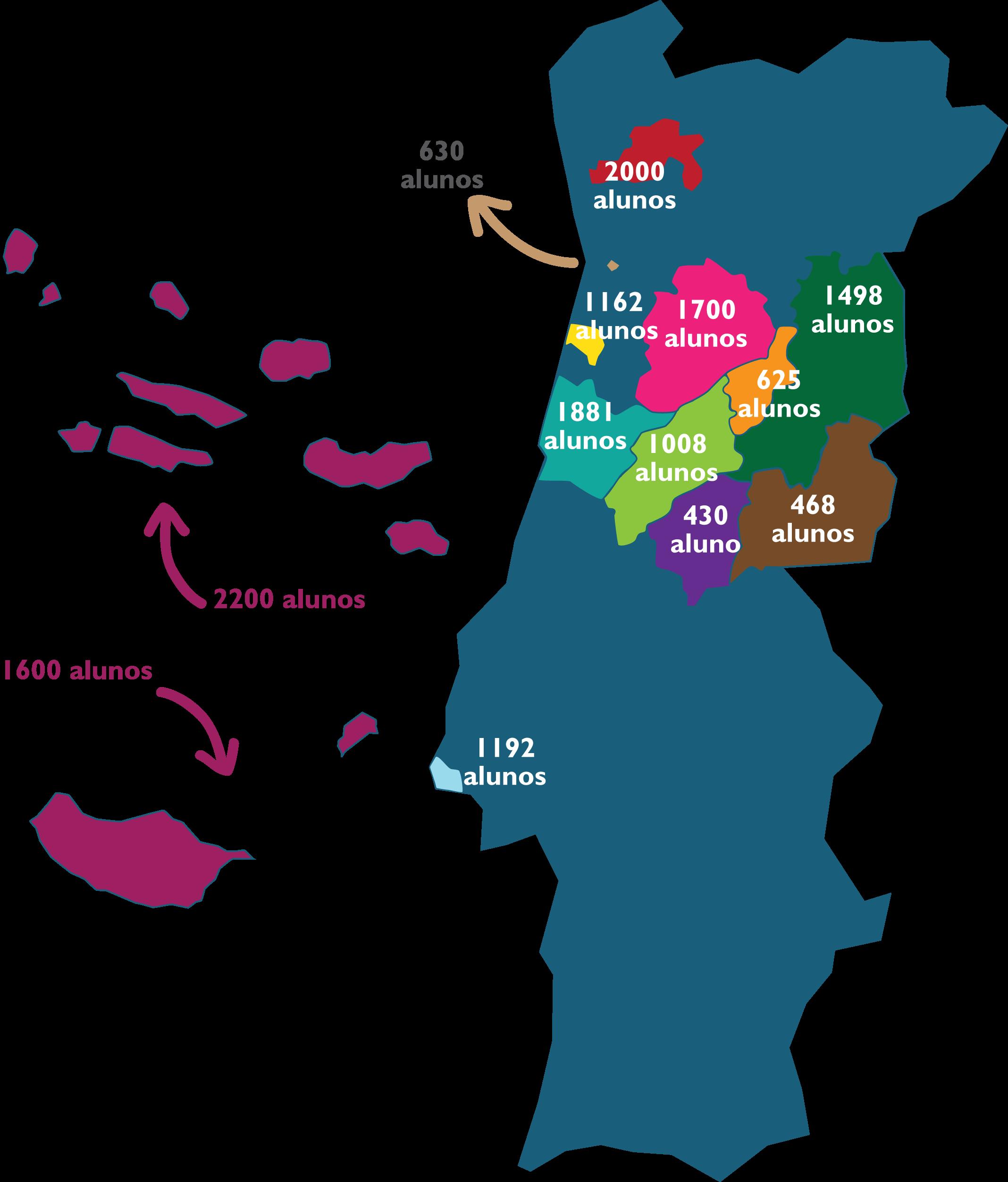 Mapa alunos e clientes